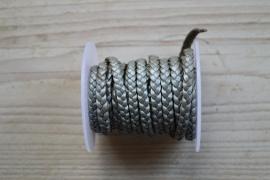 Plat gevlochten rundleer 5 mm Metallic Zilver per 10 cm