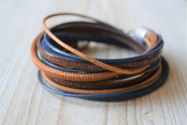 Leather Wrap XL Bruin/Donkerblauw