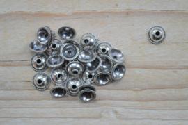 Kraalkap sterling zilver ca. 7,3x 7,3 x 3 mm (per 2)