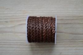 Plat gevlochten rundleer 5 mm Bruin per 10 cm