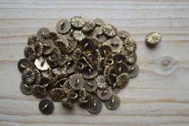 Oud goud kleurige knopen ca. 10 mm per 2