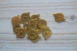 Goudkleurig tussenstuk mandala ca. 14 x 20 mm per stuk