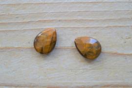 Tijgeroog gefacetteerde platte druppels ca. 13 x 18 mm per 2