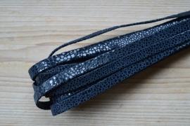 Plat nappaleer Reptielenprint 10 mm Donkerblauw per 10 cm