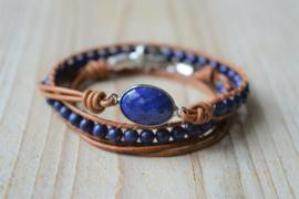 3-Wraparmband met 4 mm Lapis Lazuli en tussenstuk Lapis Lazuli