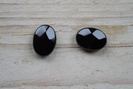 Onyx gefacetteerde platte ovaal ca. 13 x 18 mm (per 2)