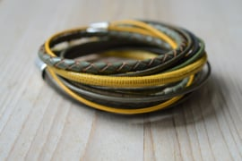 Leather Wrap XL Olijf/Geel