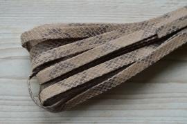 Plat nappaleer Slangeprint 10 mm Lichtbruin per 10 cm