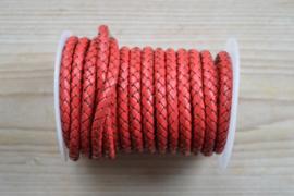 Rundgeflochtenes leder 6 mm Rot pro 10 cm