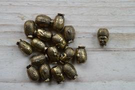 Bronskleurige kraal Boeddha II ca. 8 x 13 mm per stuk