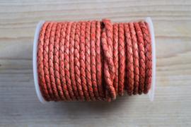 Rondgevlochten leer 4 mm Vintage Rood per 10 cm