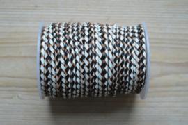 Rondgevlochten leer 4 mm Zwart/Wit per 10 cm