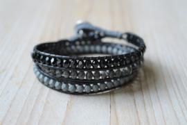 3-Wraparmband Zwart/Grijs