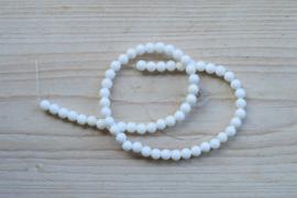 Witte schelp ronde kralen 6 mm