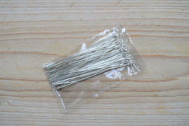 Metalen kettelstiften verzilverd 70 mm ca. 50 stuks