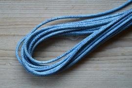 Rundes nappaleder  4 mm Blau/Weiss pro 10 cm