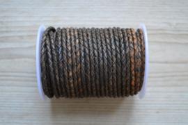 Rundgeflochtenes leder 4 mm Antik Braun pro 10 cm