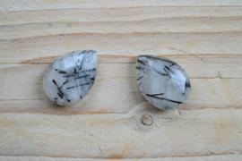 Zwart rutilated kwarts gefacetteerde sidedrilled druppels ca. 18 X 25 mm per 2