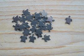 RVS bedel schildpad ca. 9 x 11 mm per stuk