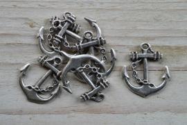 Metalen hanger anker klein ca. 24 x 27 mm per stuk