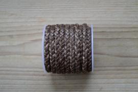 Plat gevlochten rundleer 5 mm Gemêleerd Bruin per 10 cm