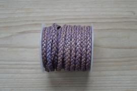Plat gevlochten rundleer 5 mm Vintage Paars per 10 cm