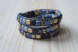 3-Wraparmband Blauw/Goud