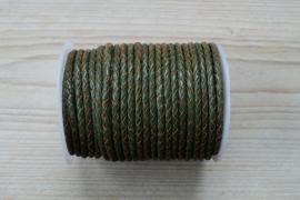 Rondgevlochten leer 4 mm Legergroen per 10 cm