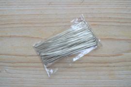Metalen nietstiften verzilverd 70 mm ca. 50 stuks
