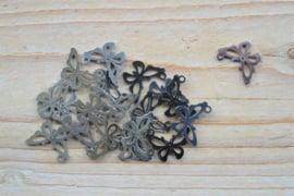 RVS bedel vlinder ca. 13 x 17 mm per stuk