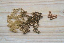 RVS Gold plated bedel vlinder ca. 13 x 17 mm per stuk