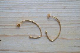 RVS Gold plated oorstekers ca. 38 mm per paar