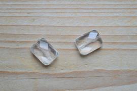 Bergkristal gefacetteerde platte rechthoekjes ca. 13 x 18 mm A klasse per 2