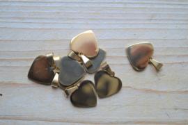 RVS Gold plated hangertje hart ca. 18 x 25 mm per stuk