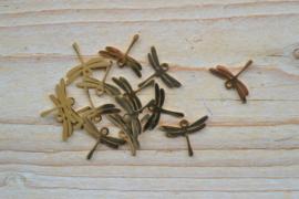 RVS Gold plated bedel libelle ca. 13 x 18 mm per stuk