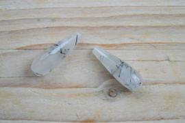 Zwart rutilated kwarts gefacetteerde ronde druppels ca. 10 X 30 mm per 2
