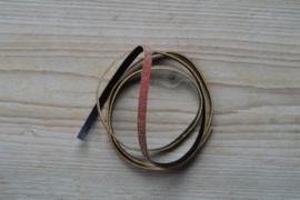 Plat glitterleer 5 mm Rose per 10 cm