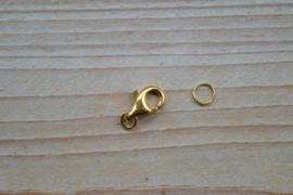 Karabijnsluiting verguld sterling zilver groot ca. 9 x 13 mm