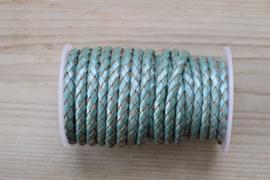 Rondgevlochten leer 5 mm Metallic Lichtblauw per 10 cm
