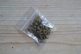 Bronzen ringetjes split 6 mm ca. 80 stuks