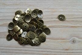 Bronskleurige knoop '2 gaatjes' klein ca. 10 x 13 mm per 2 stuks