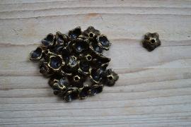 Bronskleurige kraalkap ca. 13 mm per 6 stuks