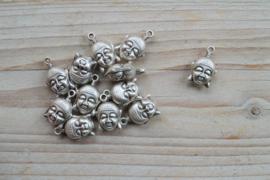 Metalen Boeddhahoofd 2-zijdig ca. 14 x 21 mm per stuk