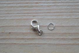 Karabijnsluiting sterling zilver groot ca. 9 x 13 mm