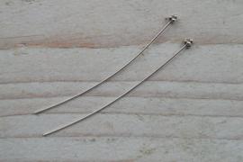 Nietstift sterling zilver met versiering ca. 50 mm (per 2)