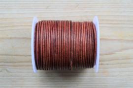Rundleer 2 mm  Vintage Roodbruin per meter