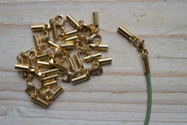 RVS Gold plated einddopjes met karabijnsluiting  ca. 3 x 33 mm per stuk