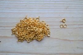 RVS Gold plated veerringsluiting ca. 6 x 8 mm per stuk