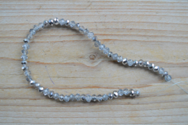 Kristalstreng zilver/transparant gefacetteerde rondellen ca. 4 x 6 mm