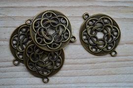 Bronskleurig tussenstuk gevlochten cirkels ca.36 x 47 mm per stuk